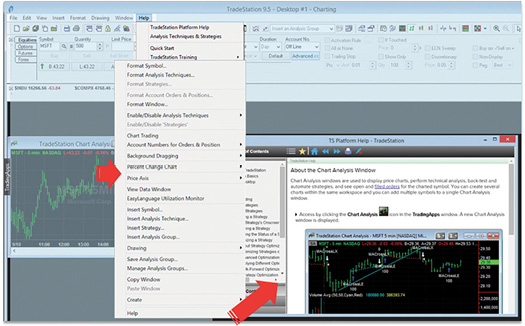 Figure 2. Context-sensitive help for TradeStation's desktop platform, depicting how right-clicking on a chart displays a chart analysis topic.