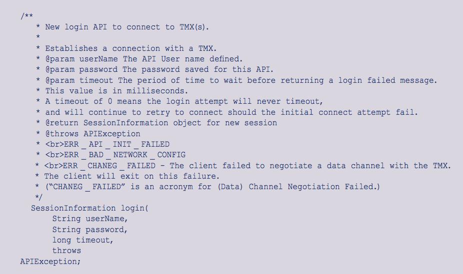 Figure 2. A sample method (login) for a Java API.