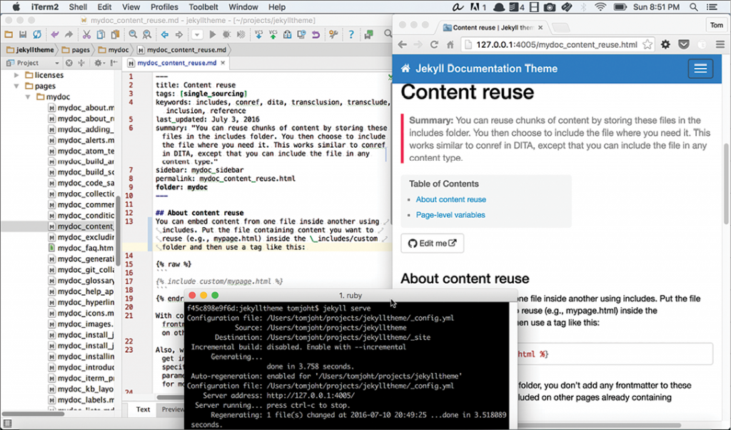 Figure 2. My text editor is open on the left; the browser on the right is open to the preview URL (http://127.0.0:4005). The terminal window shows how the site regenerates each time I save a change.
