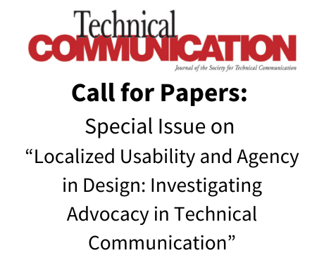 """Call for Papers: Special Issue of Technical Communication on """"Localized Usability and Agency in Design: Investigating Advocacy in Technical Communication"""""""