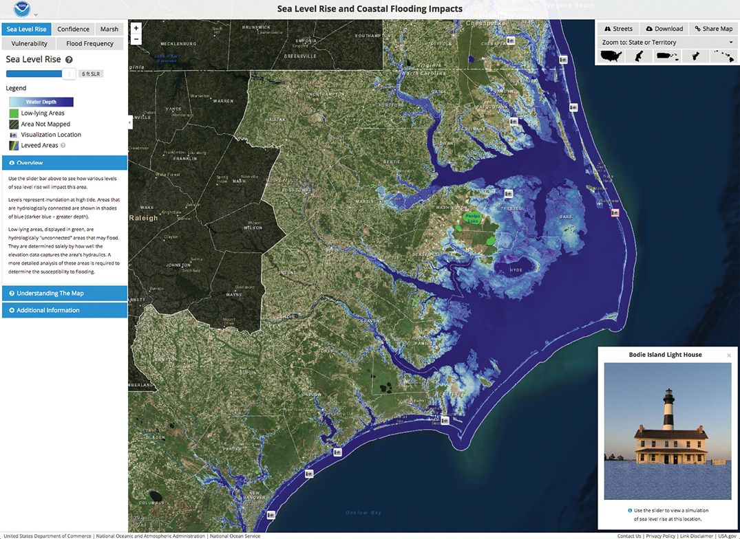 Figure 10. Interactive map showing the likely effects of 6 feet of sea level rise on the coast of North Carolina, with a picture illustrating the consequences for a local lighthouse (National Oceanic and Atmospheric Administration, 2016). Figure courtesy of NOAA. Used by permission. Copyright © 2016 Esri and its data providers. All rights reserved.