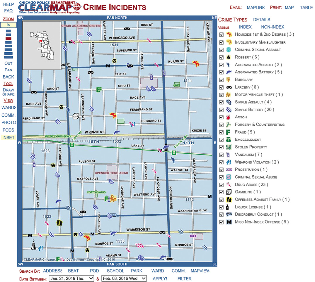 Figure 11. Chicago Police Department CLEARMAP for Chicago, Illinois, with icons showing several types of crimes committed over two weeks (Chicago Police Department, 2016). Reproduced with the permission of the Chicago Police Department 2016.