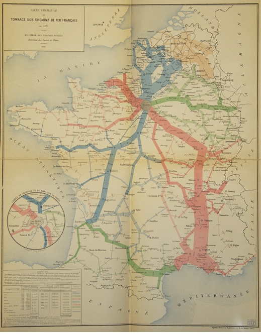 Figure 2. Map showing the amount of railroad freight transported across France in 1879 along several regional routes (Ministère des Travaux Publics, 1881, Plate 1).