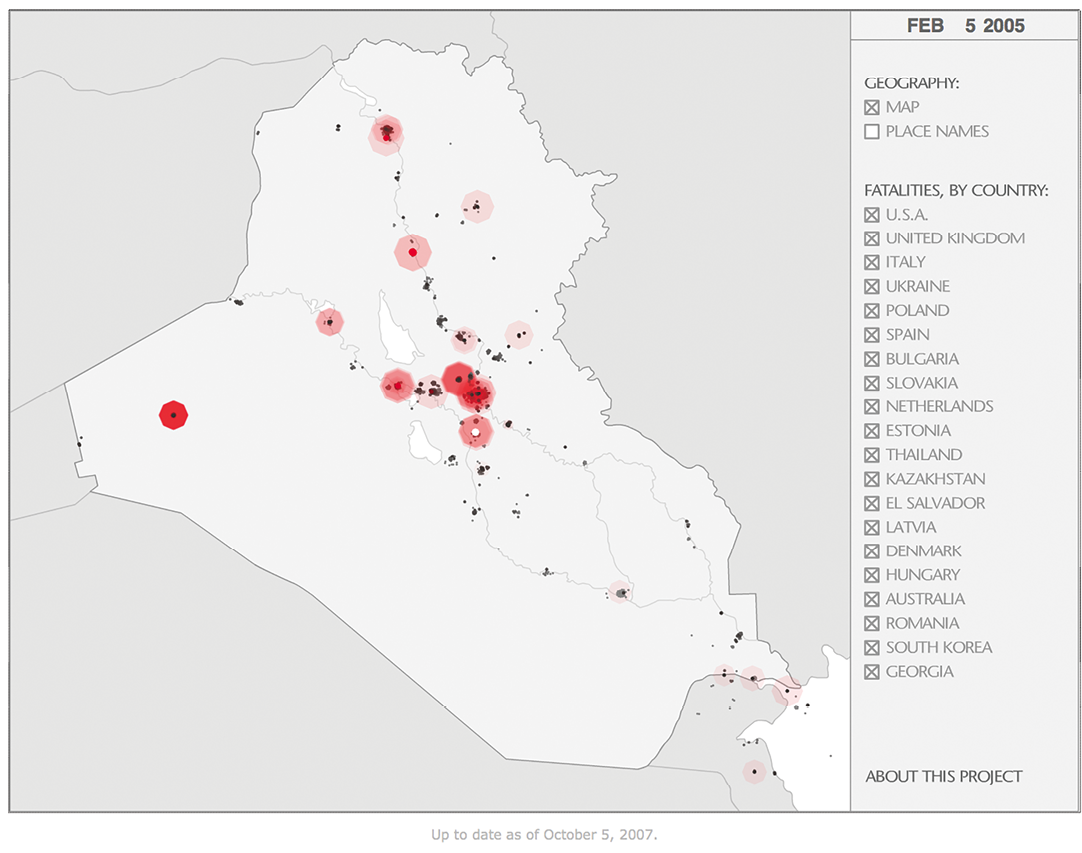 Figure 8. Animated chart with sound designed by Tim Klimowicz (2011) that visualizes coalition fatalities in the Iraq War from 2003 to 2007. Reproduced with the permission of Tim Klimowicz.