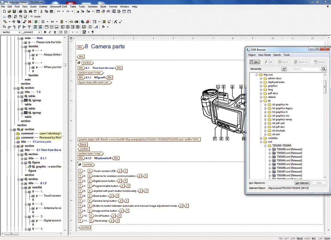 Figure 1. Arbortext Editor Showing a Section from a FLIR T4xx Series Manual and the CMS Browser Tool
