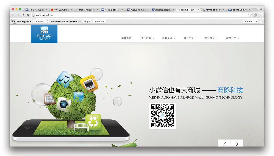 Figure 14. Logo on top left of this website for Dingcheng Group plays on the Chinese character ding in its design.