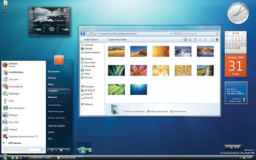 Figure 3. Skeuomorphic design: Windows 7 desktop